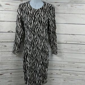H&M black/brown/white long sleeve dress Size Large
